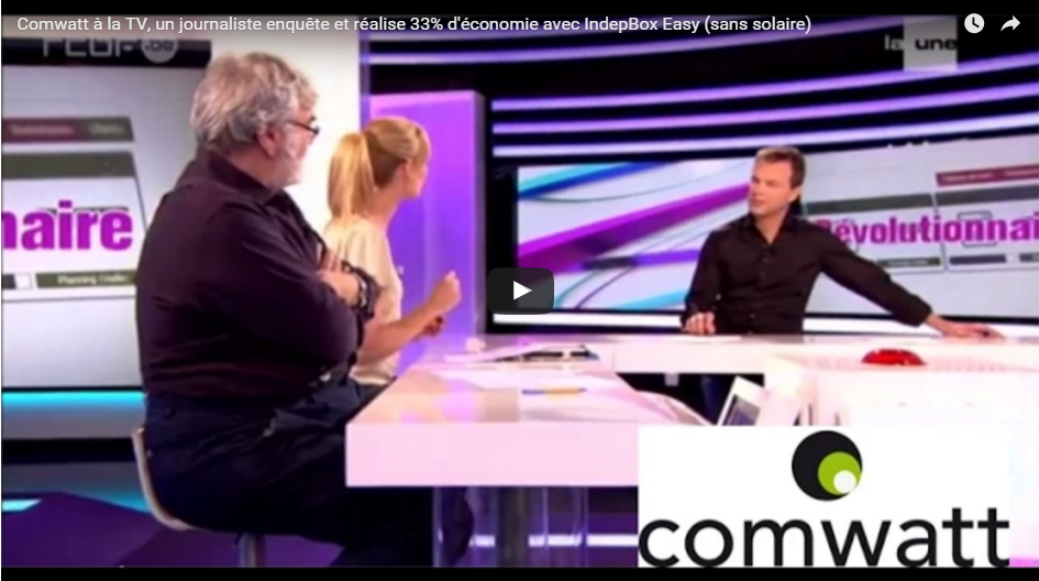 Comwatt live on TV, and see RTBF journalist investigating and making 33 % savings with IndepBox Easy ( without solar)