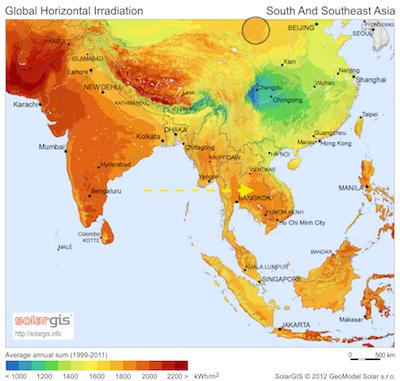 chine solar irradiance
