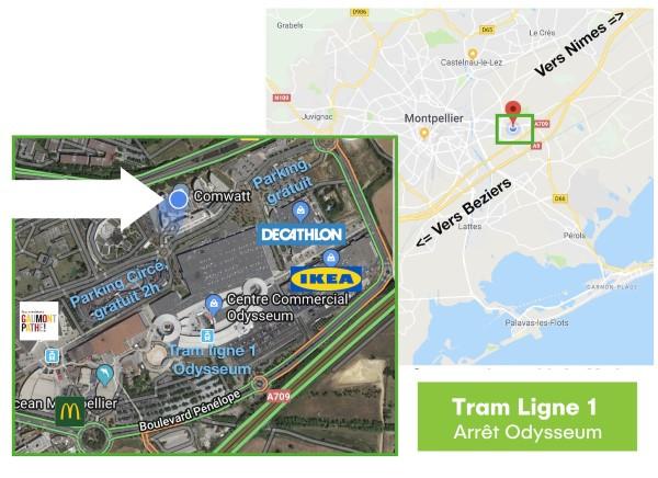 Plan d'accès de nos bureaux de Montpellier